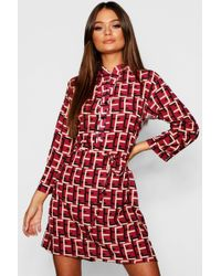 Boohoo - Geo Print Tie Waist Shirt Dress - Lyst