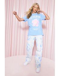 Boohoo Le Fleur Graphic Oversize T Shirt - Blue