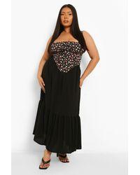 Boohoo Plus Tiered Maxi Skirt - Negro