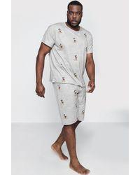 Boohoo Big And Tall Disney Mickey Mouse Pajama Set - Gray