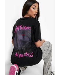 Boohoo Halloween Back Print Oversized T-shirt - Black