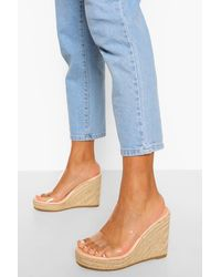 Boohoo Clear Double Strap Wedge - Multicolour