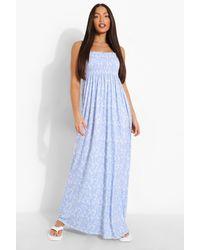 Boohoo Tall Ditsy Floral Shirred Bandeau Maxi Dress - Blu