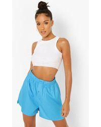 Boohoo Pantalones Cortos Boxers Con Botones - Azul