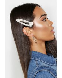 Boohoo Pearl Oversized Hair Clip - White