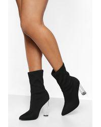 Boohoo Clear Heel Pointed Sock Boots - Black