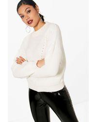 Boohoo Womens Open Knit Turtle Neck Sweater - White