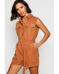 e64ed7703872 Boohoo - Suedette Utility Cargo Boiler Playsuit - Lyst