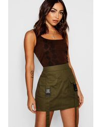 Boohoo Woven Cargo Utility Pocket Mini Skirt - Green