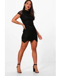 951c3b21ed47 Boohoo Boutique Leah Eyelash Lace Curved Hem Bodycon Dress in Blue ...
