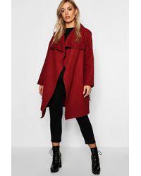 Boohoo Plus Wool Look Wrap Front Coat - Red