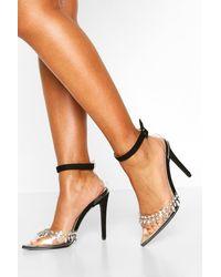 Boohoo Embellished Clear Court Shoe Heels - Noir