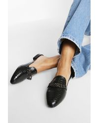 Boohoo - Wide Fit Double Chain Croc Mule Loafers - Lyst