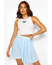 Boohoo Pleated Loopback Tennis Skirt - Blue