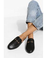 Boohoo Wide Width T Bar Mule Loafers - Black