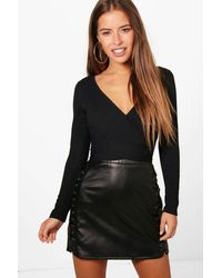 Boohoo Womens Petite Knitted Wrap One Piece - Black
