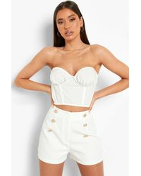 Boohoo Gold Button Front Tailored Shorts - White