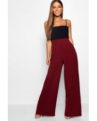 Boohoo - Petite High Waisted Woven Wide Leg Trousers - Lyst