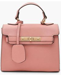 Boohoo Structured Mini Lock Crossbody Bag - Pink