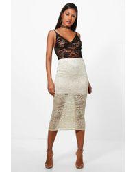 Asos Longer Length Midi Pencil Skirt in Natural | Lyst