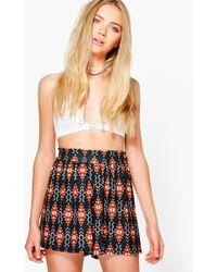 Boohoo Kia Aztec Print Flippy Shorts - Black