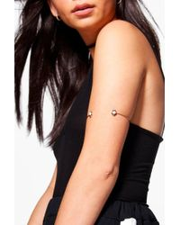 Boohoo Rebecca Stone Set Arm Cuff - Metallic