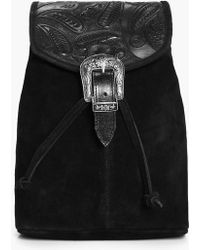 Boohoo Isla Boutique Leather Buckle Detail Backpack - Black