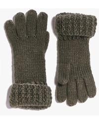 Boohoo Lois Chunky Knit Gloves - Green