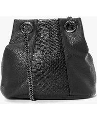Boohoo Zoe Faux Snake Panel Chain Strap Duffle Bag - Black