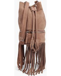 Boohoo Boutique Lola Suede Fringed Duffle Bag - Brown
