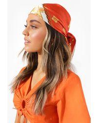 Boohoo Orange Chain Print Headscarf