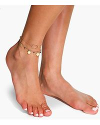 Boohoo Double Layered Heart Pendant Anklet - Multicolour