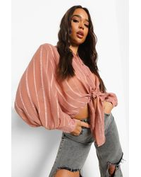 Boohoo Textured Knot Front Volume Sleeve Shirt - Pink