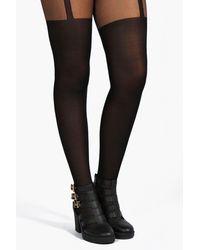 Boohoo Plus Mock Suspender Tights - Black
