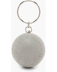 Boohoo All Over Diamante Sphere Ring Handle Bag - Metallic