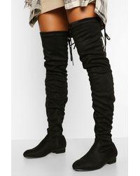 Boohoo Wider Calf Over The Knee Boot - Black