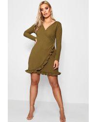 Boohoo - Plus Long Sleeve Ruffle Wrap Dress - Lyst