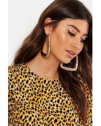Boohoo Etched Boho Rectangle Hoops - Multicolour