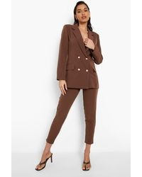 Boohoo Tailored Tapered Pants - Brown