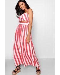Boohoo - Striped Bow Floor Sweeping Maxi Dress - Lyst