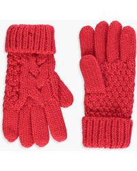 Boohoo Olivia Knitted Cable Glove - Red
