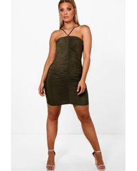 Boohoo - Plus Amber Slinky Ruched Detail Bodycon Dress - Lyst