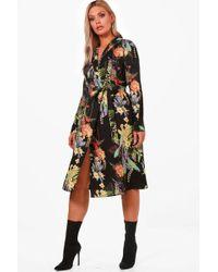 Boohoo - Plus Oriental Kimono Wrap Dress - Lyst