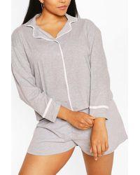 Boohoo Plus Long Sleeve Button Jersey T-shirt Pj Set - Grey