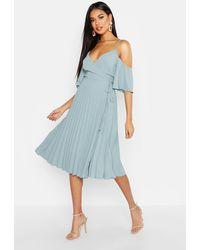 Boohoo Woven Shoulder Pleated Midi Skater Bridesmaid Dress - Blue