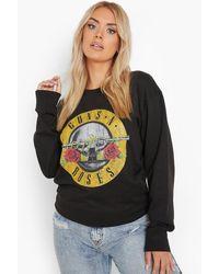 Boohoo Plus Guns N Roses Licensed Sweat - Black