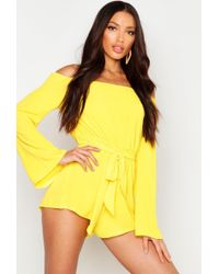 Boohoo Womens Off The Shoulder Woven Romper - Yellow - 6