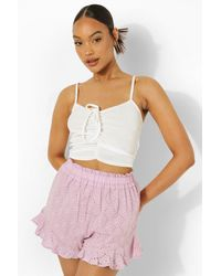Boohoo Ruched Front Strappy Crop Top - Blanco