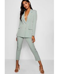 Boohoo Military Button Detail Tapered Trousers - Green
