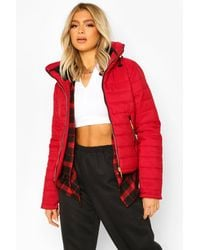 Boohoo Tall Faux Fur Trimmed Puffer Belted Coat - Red